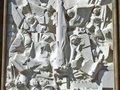 Español: Venida de la Virgen del Pilar (Pablo Serrano, 1969) Relieve de la Fachada de la Basílica de Nuestra Señora del Pilar de Zaragoza, España.