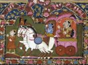 Krishna and Arjun on the chariot, Mahabharata, 18th-19th century, India.