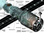 A diagram showing the on-orbit configuration of the Zvezda Service Module of the International Space Station.