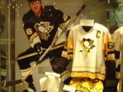English: Piece made in commemoration of Mario Lemieux in the hockey hall of fame. Français : Vitrine consacrée à Mario Lemieux au Temple de la renommée du hockey.