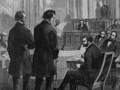 English: Impeachment - Thaddeus Stevens and John A. Bingham before the Senate.