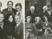 First season cast: (left top) Harper, Asner, Leachman; (left bottom) MacLeod, Moore, Knight. Last season cast: (right top) Knight, MacLeod, Asner; (right bottom) White, Engel, Moore.