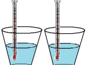 English: An experiment to determine at what temperature fresh water freezes as compared to salt water.