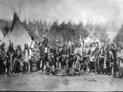 Salish men near tipis (1903, Flathead Reservation, Montana)