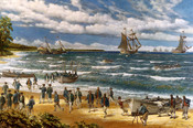 English: oil on canvas depiction of the Battle of Nassau