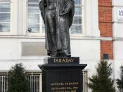 Statue of Michael Faraday outside the headquarters of the Institution of Engineering and Technology in Savoy Place, London