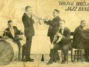 Original Dixieland Jazz Band. Scanned by Infrogmation from original 1918 promotional postcard while the band was playing at Reisenweber's Cafe in New York City. Shown are (left to right) Tony Sbarbaro (aka Tony Spargo) on drums; Edwin