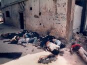 Aftermath of massacre of Palestinians by Christian Phalangists in the Sabra and Shatila refugee camps