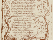A page from scan of book containing a series of series of reproductions a work, Songs of Innocence and Experience by a poet and painter, William Blake