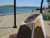 English: Monument in Halifax harbour commemorating the use of Georges Island as a prison for deported Acadians during the Grand Dérangement of the 1750s and 1760s. Georges Island is visible in the background. Halifax, Nova Scotia, Canada.