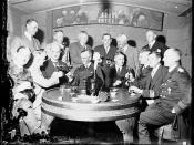 German naval officers and officials at 'Ye Olde Crusty Cellars' in George Street, Sydney