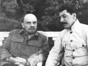 Stalin visiting the ailing Lenin (left) at his dacha in Gorki.