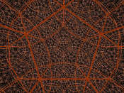 A regular dodecahedral honeycomb, {5,3,4}, of hyperbolic space projected into 3-space.