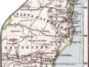 Historical map of German colonies at South Brazil (1905)