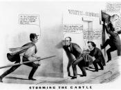 Watchman Lincoln arrests candidates breaking into the White House. Bell counts on Douglas to get him in. Douglas is trying the keys of 'regular nomination', 'nonintervention (slavery)' and 'Nebraska (terr.) Bill', but none of them works. Pres. Buchanan tr