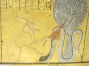 Ra slays Apep (tomb scene in Deir el-Medina)