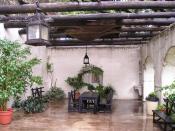 Inside of Spanish Govenors Palace in San Antonio, Texas. Built 1749.