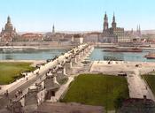 Altstadt (old city), Dresden. View from the War Ministry. Photochrom print. Français : Impression Photochrome montrant la vieille ville de Dresde vue depuis le ministère de la guerre.