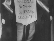 Suffragists Mrs. Stanley McCormick and Mrs. Charles Parker, April 22, 1913. Two women holding a banner between them reading
