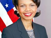 An official portrait of Condoleezza Rice. Contrast enhanced from State department version to compensate for slight light overexposure.