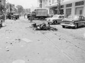 Scene of Viet Cong terrorist bombing in Saigon, Republic of Vietnam