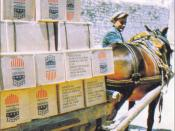 English: Donkey carrying U.S. funded supplies to Greece as part of the Truman Doctrine of the Marshall Plan
