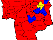 English: A map of the results of the 2006 Sunderland Council election. Colour legend by wards won: Labour party Conservative party Liberal Democrats