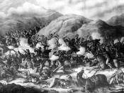 English: Battle of the Big Horn. Shows the smoking guns of General Custer and his U. S. Army troops being defeated in battle with Native American Lakota Sioux, and Northern Cheyenne, Little Bighorn Battlefield, June 26, 1876 Little Bighorn River, Montana.