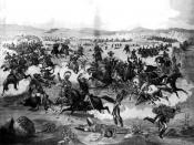 English: General Custer on horseback with his U. S. Army troops in battle with Native American Lakota Sioux, Crow, Northern, and Cheyenne, Little Bighorn Battlefield, June 25, 1876, Little Bighorn River, Montana.
