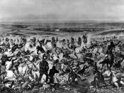 Title: Custer's last stand Caption: Native American Lakota Sioux, Crow, Northern, and Cheyenne, defeat General Custer standing center, wearing buckskin, with few of his soldiers of the Seventh Cavalry still standing, Little Bighorn Battlefield, June 26, 1