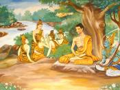 picture of a wallpainting in a Laotian temple, depicting the Bodhisattva Gautama (Buddha-to-be) undertaking extreme ascetic practices before his enlightenment. A god is overseeing his striving, and providing some spiritual protection. The five monks in th