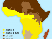 Linguistically, sub-Saharan Africa is dominated by the Niger–Congo phylum (distribution shown in yellow), with pockets of Khoi-San in Southern Africa, Nilo-Saharan in Central and East Africa, and Afro-Asiatic in the Horn of Africa
