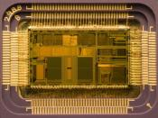 Die of an Intel 80486DX2 microprocessor (actual size: 12×6.75 mm) in its packaging.