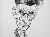 English: Caricature of Samuel Beckett, Nobel Prize winner and author of the internationally acclaimed play Waiting for Godot, holding a book.