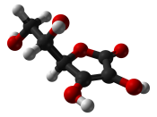 Ball-and-stick model of the L -ascorbic acid (vitamin C) molecule, C 6 H 8 O 6 , as found in the crystal structure. X-ray diffraction data from J. Mol. Struct.: THEOCHEM (1997) 419, 139-154. Model constructed in CrystalMaker 8.1. Image generated in Accelr