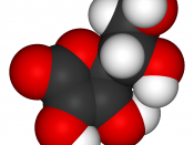 Model of a vitamin C molecule. Black is carbon, red is oxygen, and white is hydrogen