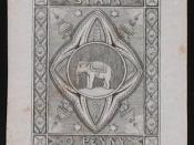 First essay (rejected postage stamp design) of Thailand (Elephant Essay). Early 1880s.