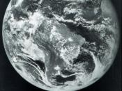 The first image obtained from a GOES satellite. These satellites are put in geostationary orbit over 22, 000 miles from Earth and continuously monitor a significant portion of a hemisphere of the Earth.