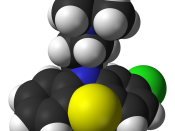 Space-filling model of the chlorpromazine molecule. X-ray diffraction data from H. S. Yathirajan, M. A. Ashok, B. Narayana Achar and M. Bolte (April 2007).