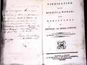 First edition print of Vindication of the Rights of Woman: with Strictures on Political and Moral Subjects