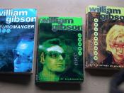 Covers of the Sprawl trilogy novels: Neuromancer (left), Count Zero (center), and Mona Lisa Overdrive (right).