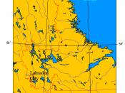 Location map of Labrador City, Newfoundland and Labrador, Canada