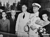 English: Franklin D. Roosevelt, President Quezon of the Philipines, and family, and Captain McCrea in Washington, D.C.