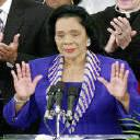 Coretta Scott King acknowledging applause at a Lagos, Nigeria, celebration of her late husband's legacy