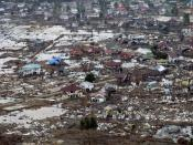 A destroyed town in Sumatra after being hit by a tsunami, caused by the 2004 Indian Ocean earthquake