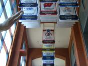 NCAA 2006 championship banners hang inside the NCAA Hall of Champions in Indianapolis