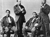 Creeks in Oklahoma, l to r, Lochar Harjo, unidentifed man, John McGilvry, and Silas Jefferson (aka. Hotulkomiko).