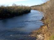 English: This is a picture of the Meramec River as it flows past Route 66 State Park in St. Louis County, Missouri.