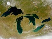 The Great Lakes as seen from space. The Great Lakes are the largest glacial lakes in the world.