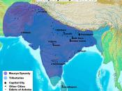 English: A map of the Maurya Dynasty, showing major ciies, early Buddhist sites, Ashokan Edicts, etc.
